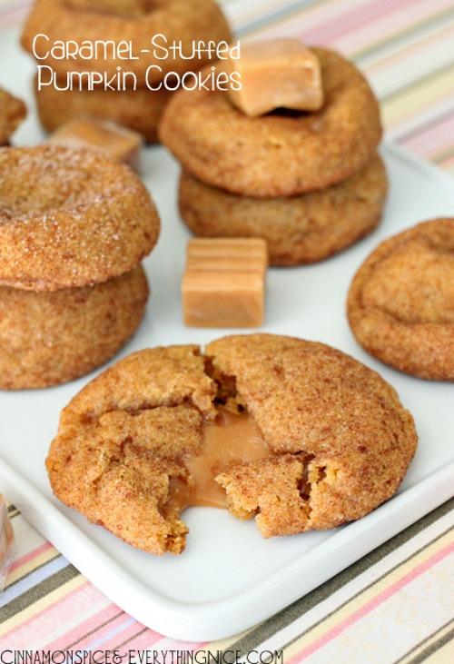 Chocolate Caramel Stuffed Pumpkin Cookie
