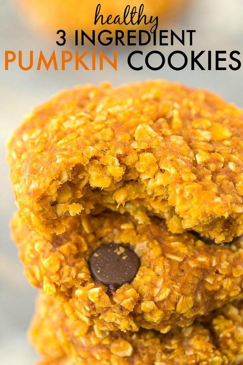 Healthy 3 Ingredient Pumpkin Cookies
