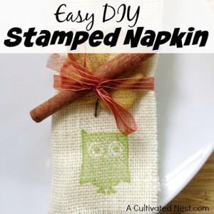 Easy DIY Stamped Napkin