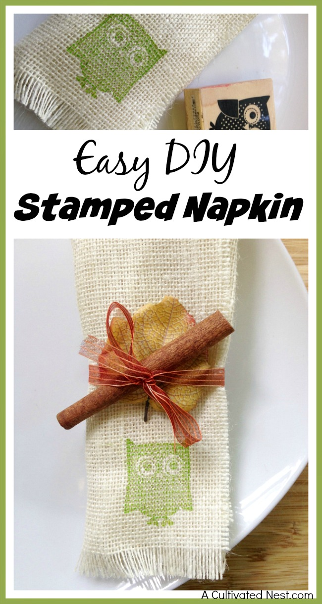 Easily make your own pretty table decor with this DIY stamped napkin tutorial! This would look lovely on your fall or Thanksgiving table!
