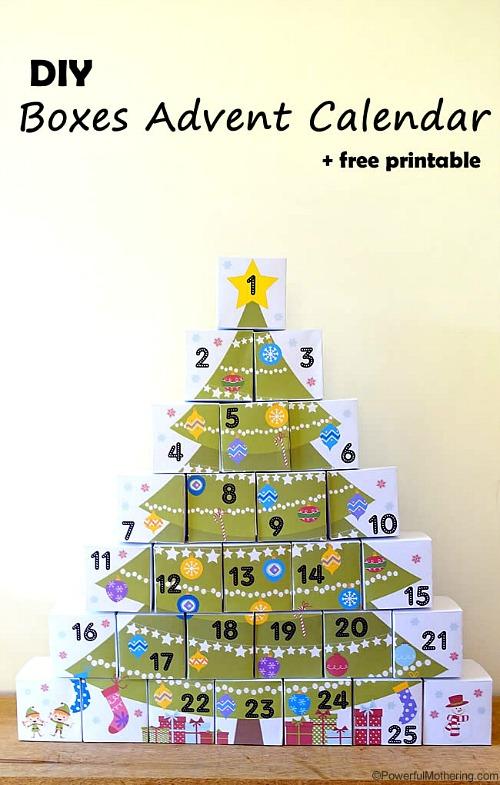 DIY Boxed Advent Calendar Free Printable