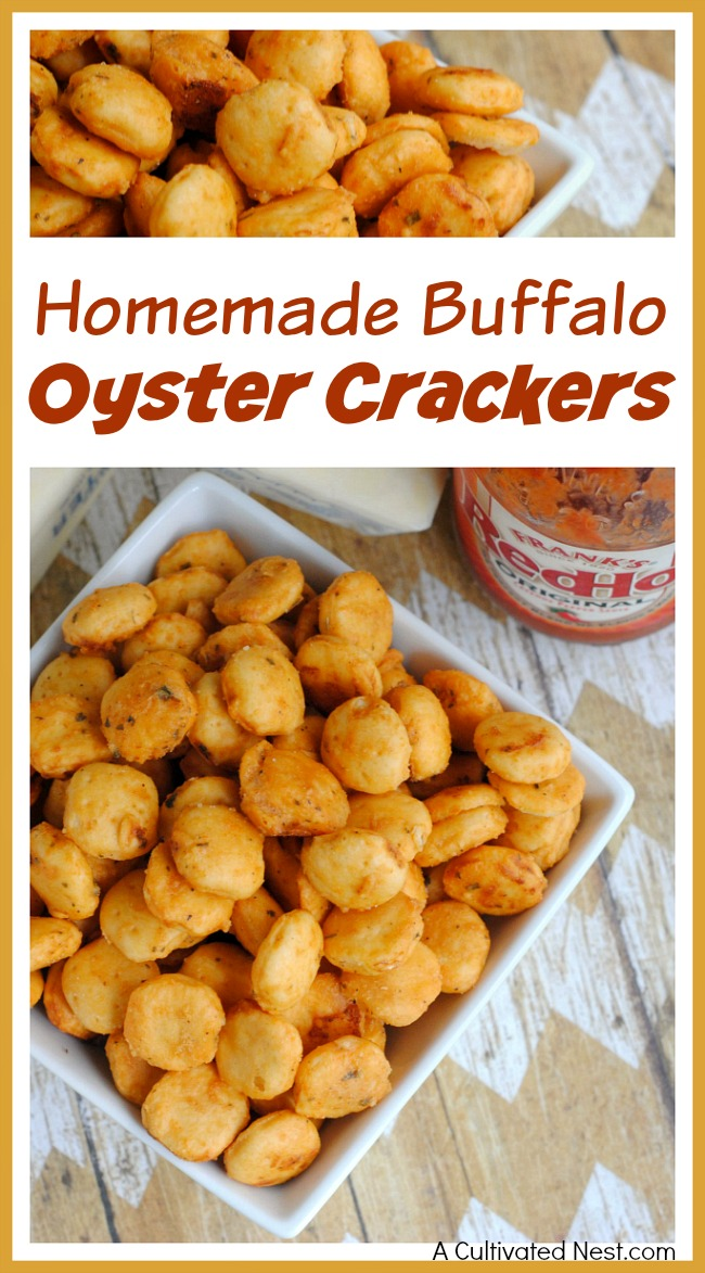 Want a quick, easy, and delicious game day snack recipe? Then you have to try these yummy homemade buffalo oyster crackers! They're great party snacks!