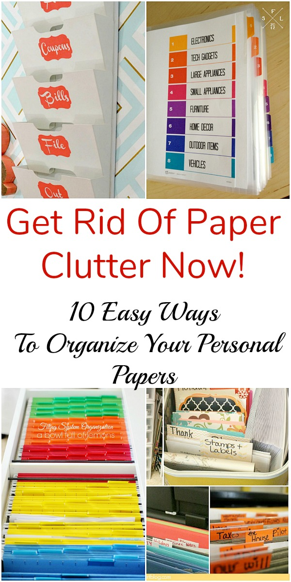 10 Handy Ways to Organize Your Personal Papers- Overwhelmed by all the mail and documents you have to keep organized every day? De-clutter and de-stress your life with one of these 10 handy ways to organize your personal papers! home paperwork, organizing ideas, office organization, paper organizing ideas, decluttering tips #organizingTips #decluttering #ACultivatedNest
