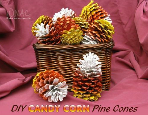 DIY Candy Corn Pinecones