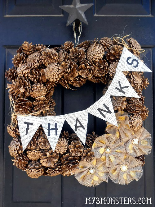 DIY Gilded Pinecone Thanksgiving Wreath