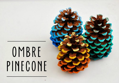 Ombre Painted Pinecone Craft