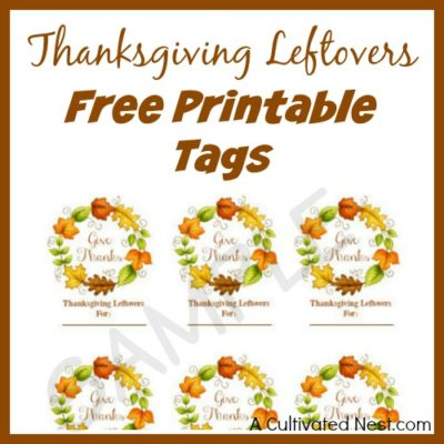 Thanksgiving Leftovers Free Printable Tags