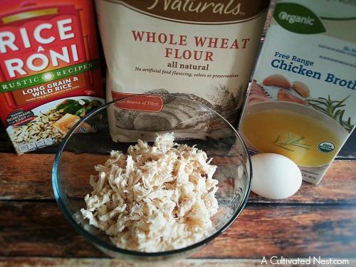 Homemade chicken and wild rice dog treats