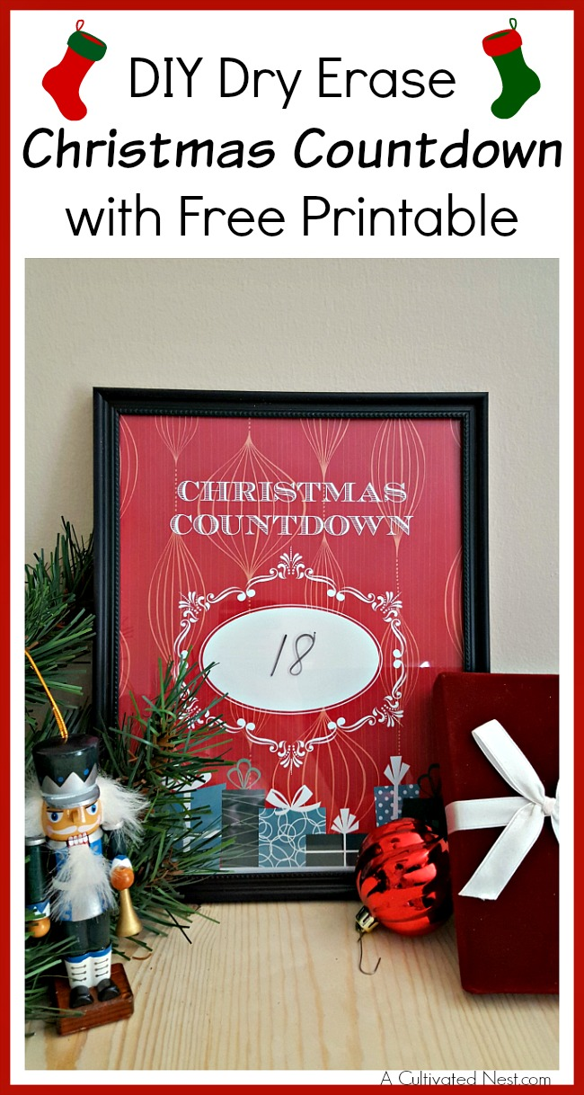 Your kids can't wait for Christmas? Help them count down the days with this DIY dry erase Christmas countdown! A free printable is included!