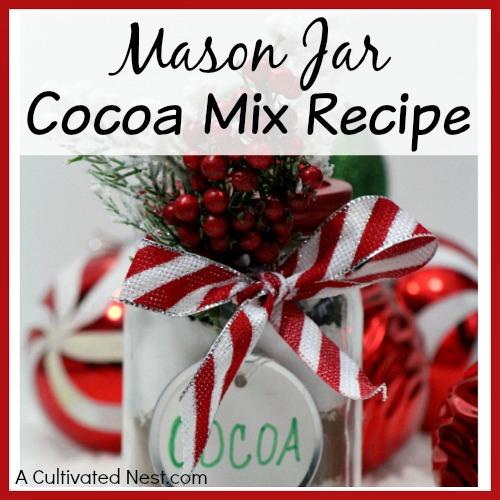 Holiday Mason Jar Cocoa Mix Recipe