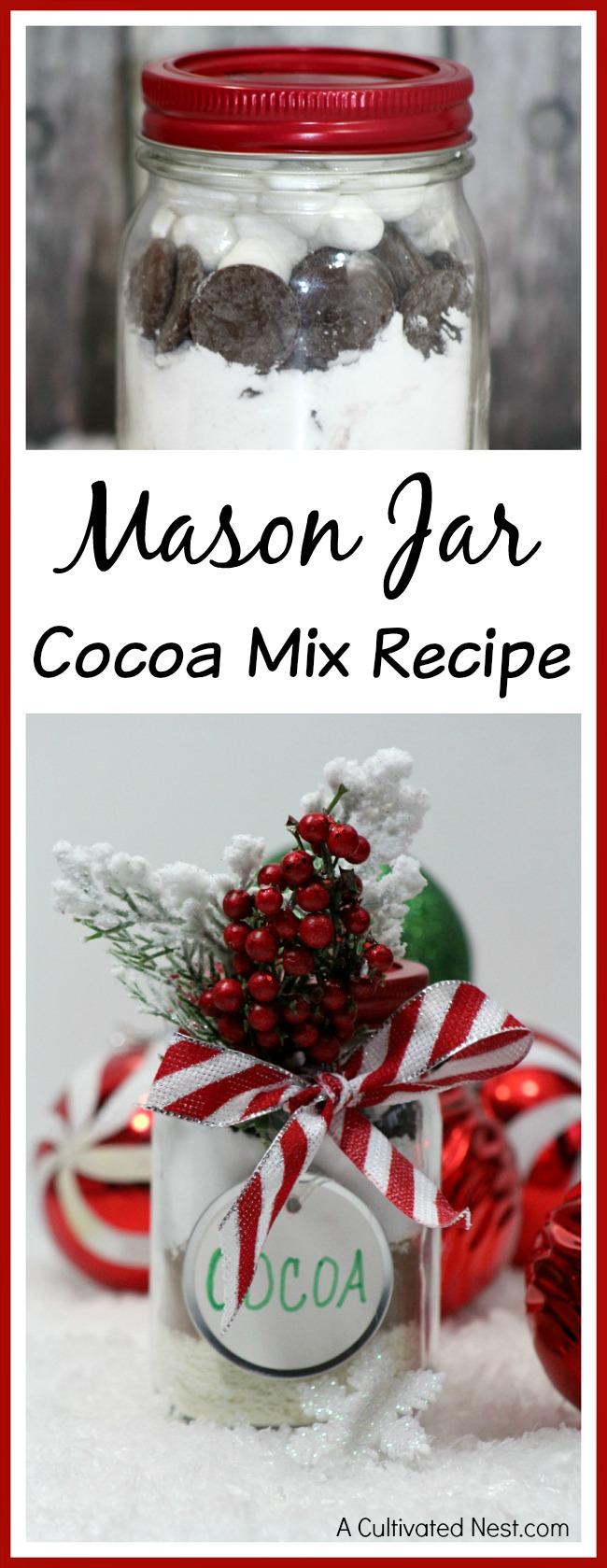 Mason Jar Cocoa Mix Recipe - this hot chocolate makes the perfect festive homemade mason jar gift!
