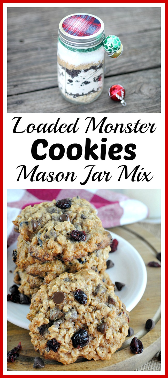 Loaded Monster Christmas Cookies Mason Jar Mix- This loaded monster cookies mix creates yummy cookies that are loaded with flavor! This makes a wonderful DIY Christmas gift! | homemade Christmas gift, make cookies from scratch, food gift in a jar, chocolate chips, baking, holiday #cookies