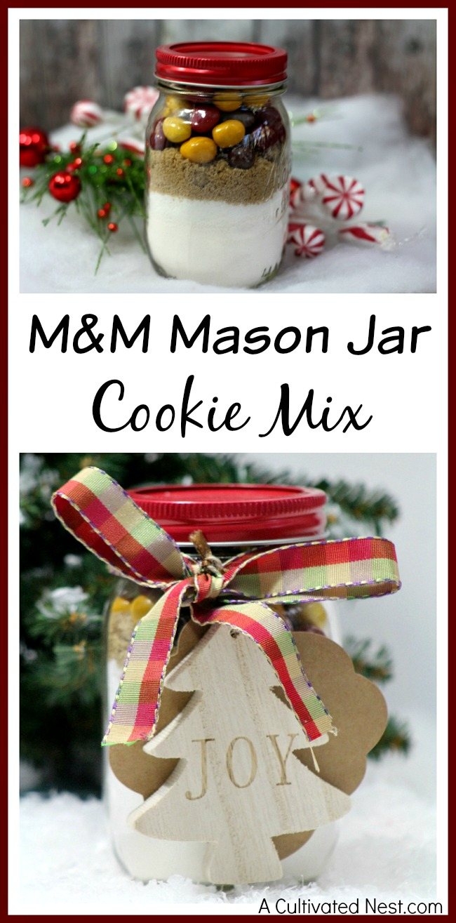 M&M Mason Jar Cookie Mix- This makes a great homemade Christmas gift!