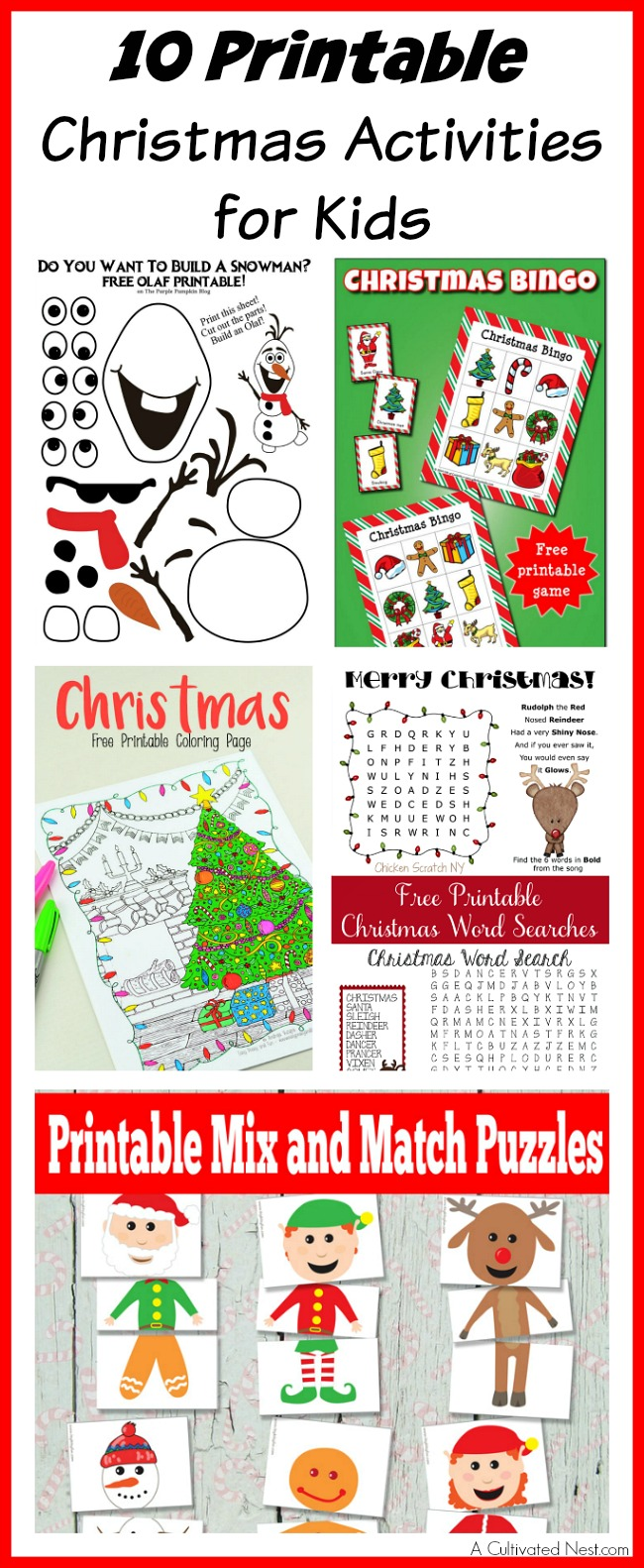 10 Printable Christmas Activities for Kids
