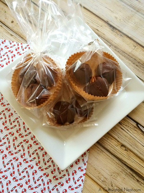 Homemade chocolate caramel turtles