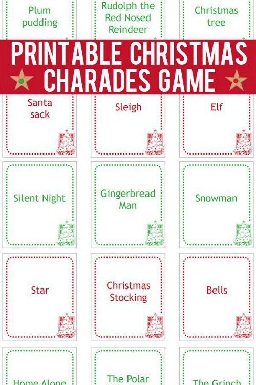 Christmas Charades Game Printable
