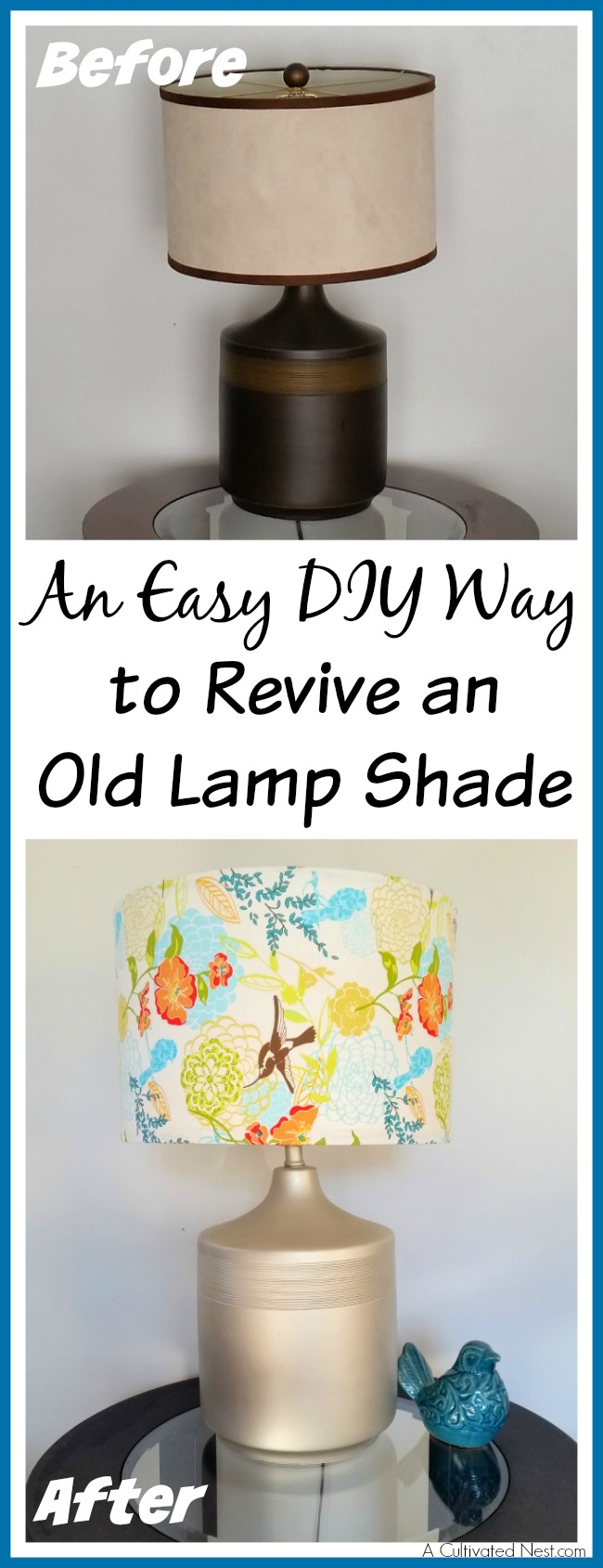 I had an ugly old lamp that really needed an update. Check out my easy DIY way to revive an old lamp shade! The lamp looks so much better now!