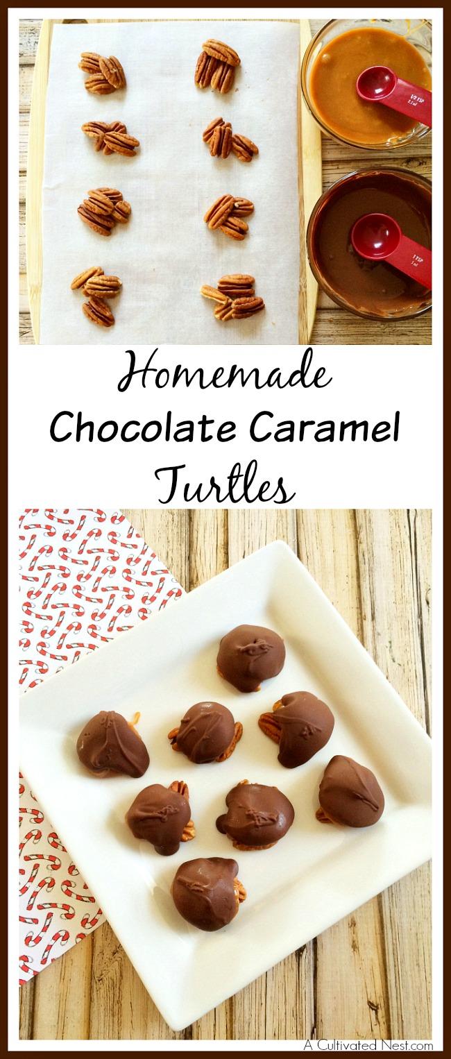 Homemade chocolate caramel turtles