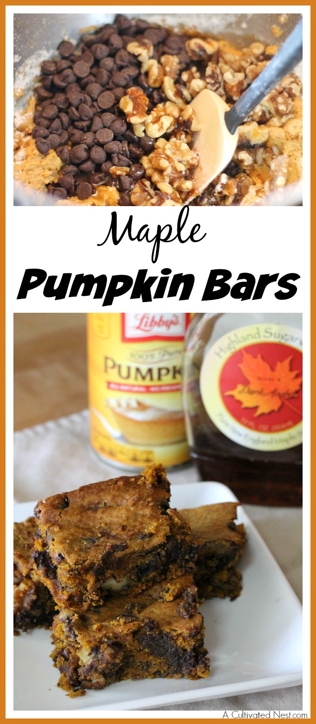 I love the taste of pumpkin and the taste of maple. Together they're delicious, especially in these easy homemade maple pumpkin bars!