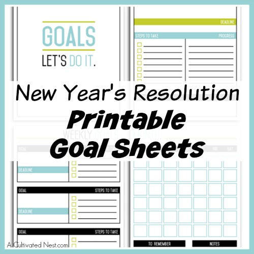 new years resolution printable goal sheets