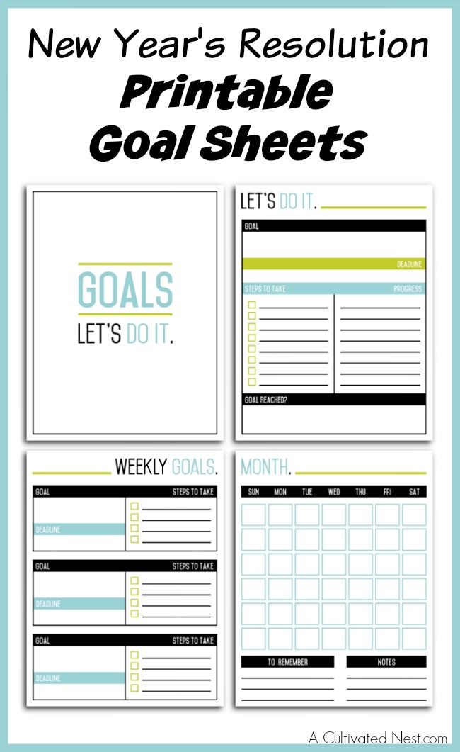 Goal sheets goal sheet printable 4 template from don for New years goals template