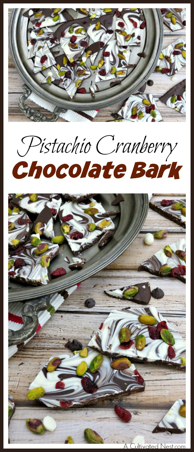 Some bark recipes require a lot of ingredients and careful melting. Not this one! This pistachio cranberry chocolate bark is quick, easy, and so delicious!