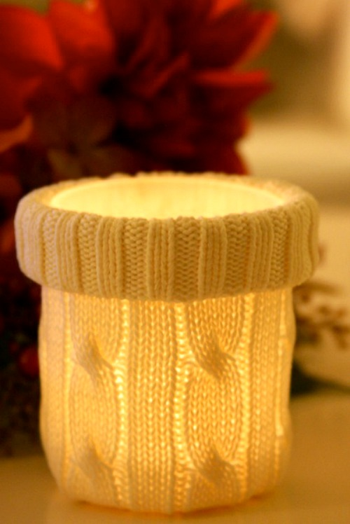 Recycled Sweater Candle Cozy