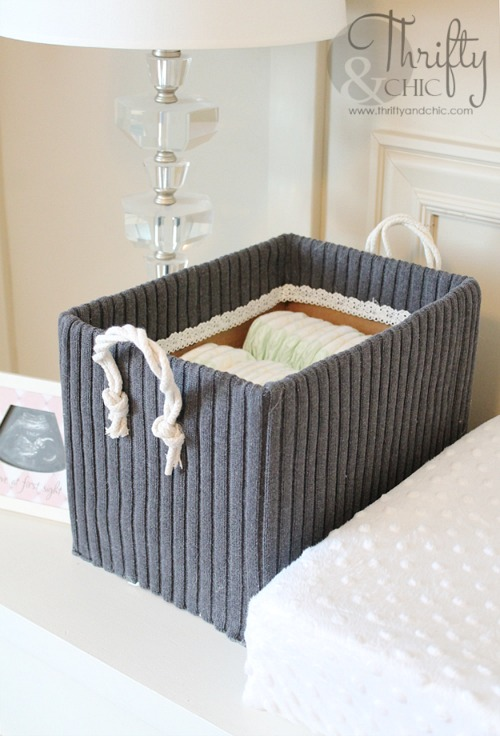 Repurposed Sweater Storage Box