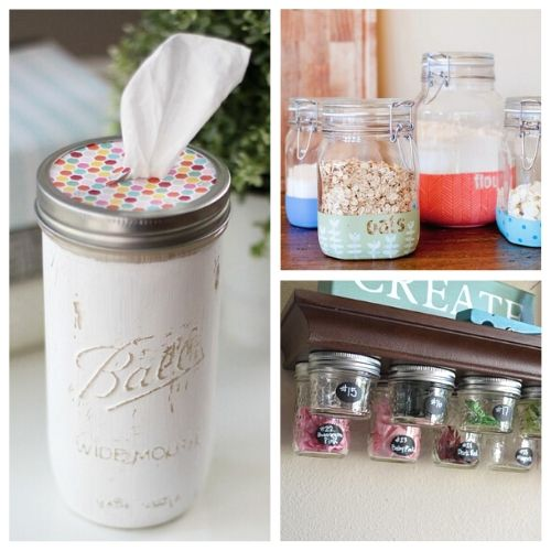 15 Clever Mason Jar Organization Ideas- An inexpensive and easy way to get your home organized is to use Mason jars! There are so many things you can organize in jars, and these Mason jar DIY projects will make the jars look beautiful! | organize with jars, organizing hacks, upcycle old jars, ways to use old glass jars, #organizingTips #organization #organize #upcycle #ACultivatedNest