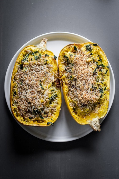 Kale and White Bean Spaghetti Squash Lasagna Bake
