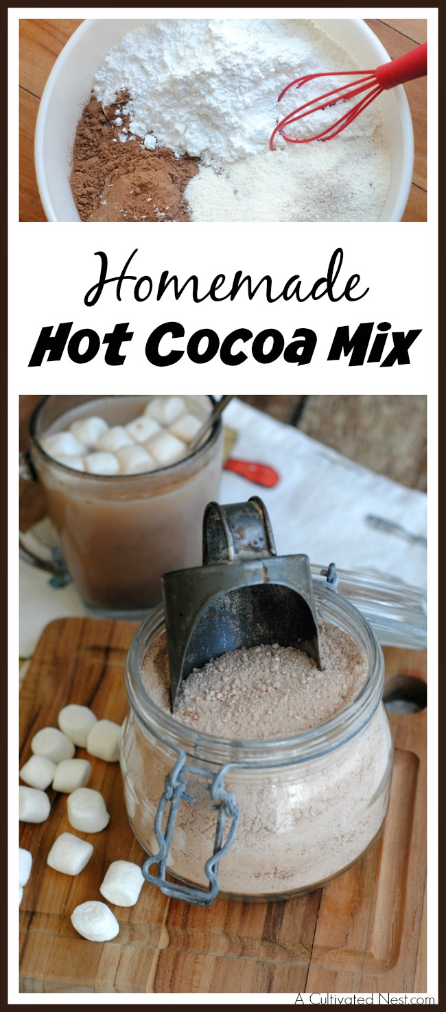 Need something tasty to get you through these cold winter days? Try making this yummy homemade hot cocoa mix! Keep it in a jar in your pantry, or gift it to a friend!