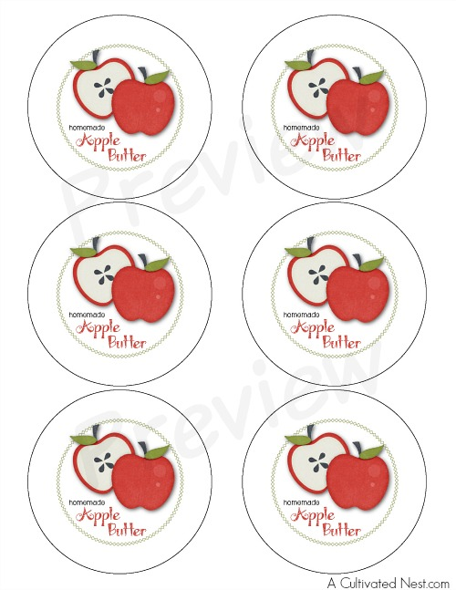 Homemade slow cooker apple butter labels preview
