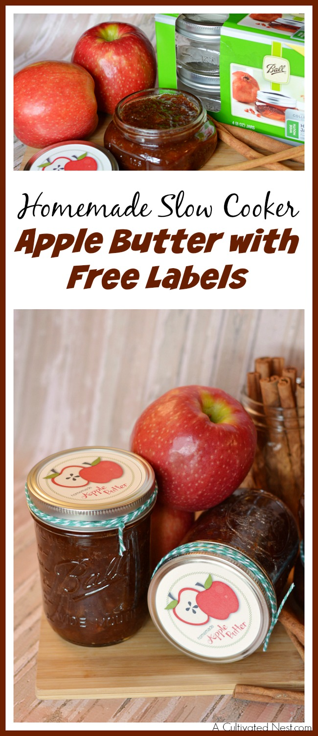 Apple butter is so tasty, especially when made from scratch! Check out my recipe for homemade slow cooker apple butter, plus free labels!