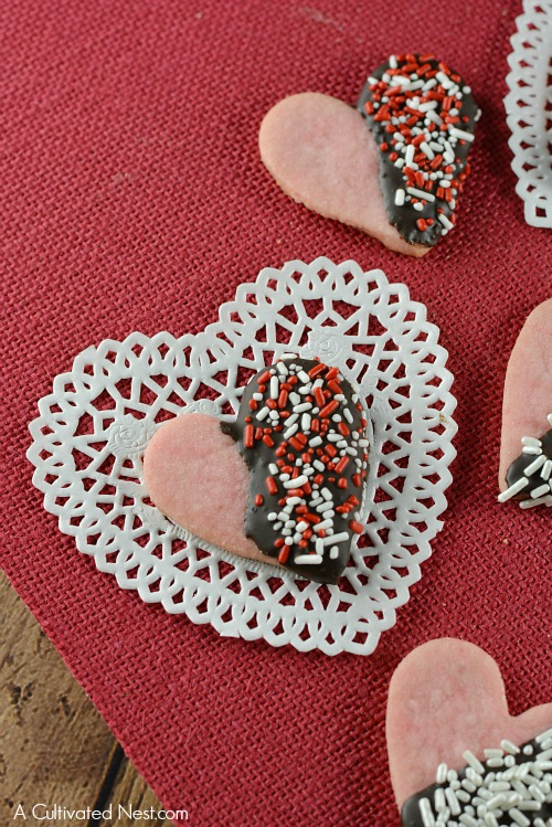 valentines day chocolate dipped shortbread cookies