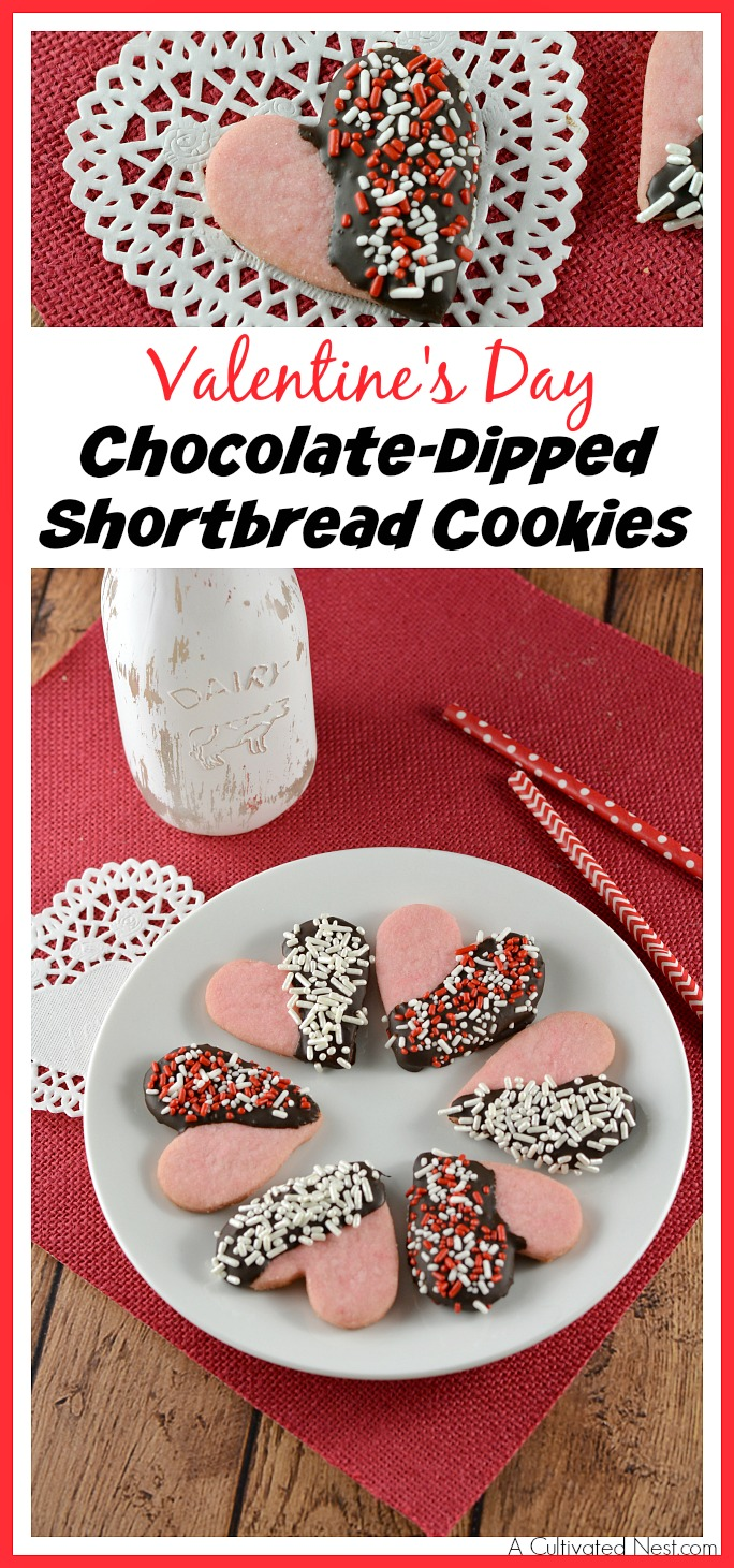Valentine's Day Chocolate-Dipped Shortbread Cookies