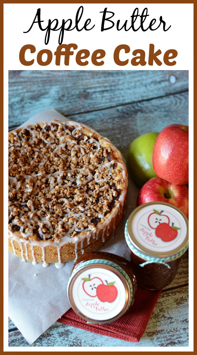 This apple butter coffee cake is a wonderful afternoon treat! It's easy to make and is a great recipe to use homemade apple butter in!