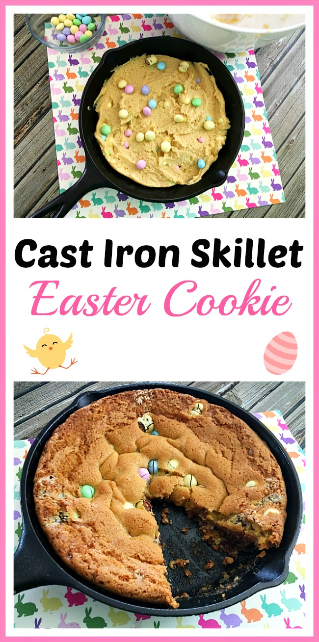 Need to make a lot of Easter dessert fast? You should try this easy and yummy cast iron skillet Easter cookie!
