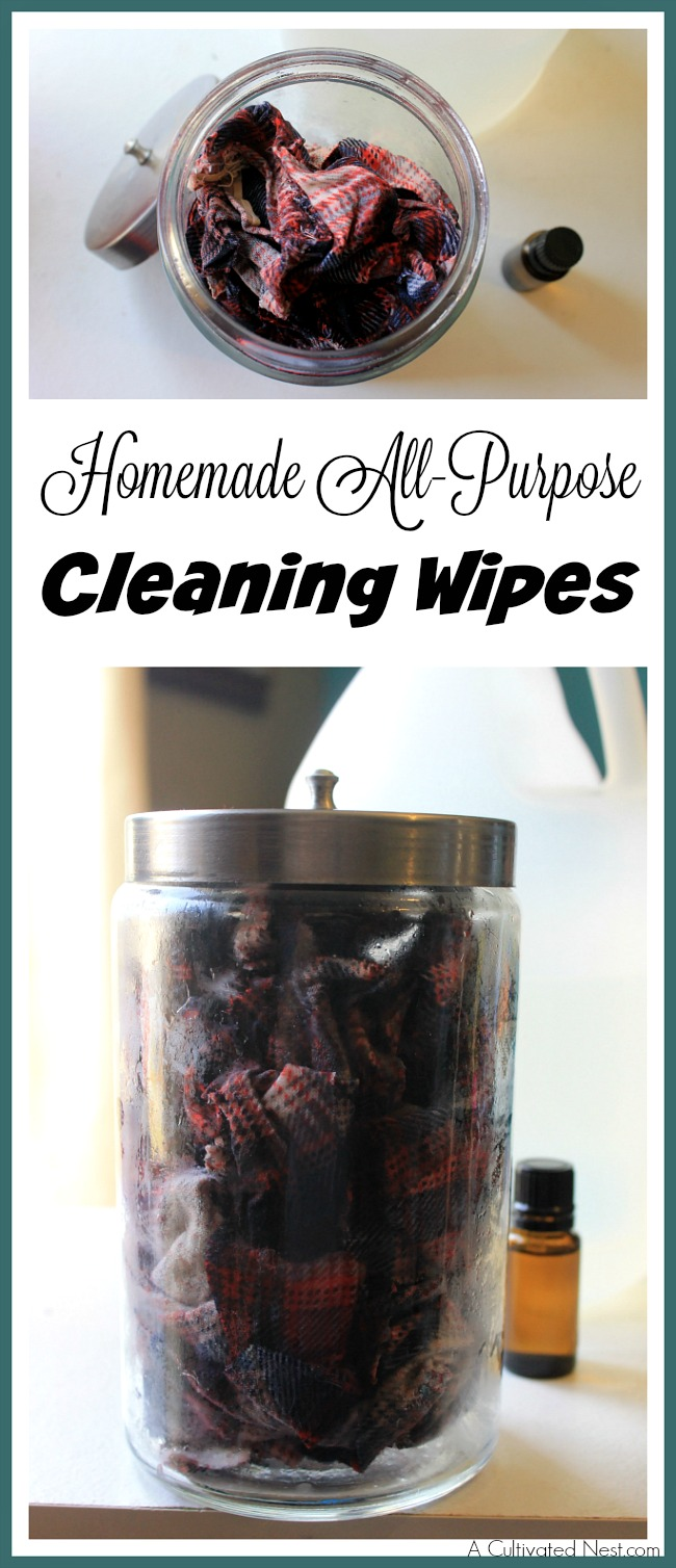 Save money, clean your home, and keep your family safe from chemicals all at the same time by making these homemade all-purpose cleaning wipes!