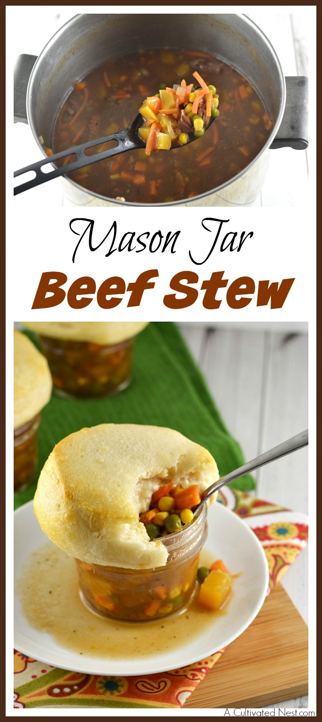 This Mason jar beef stew is the perfect hearty winter dish! It's so fun to eat it out of a jar with a yummy biscuit on top!