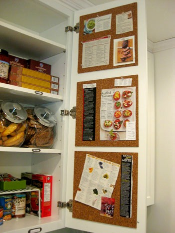 Inner Kitchen Cabinet Cork Board