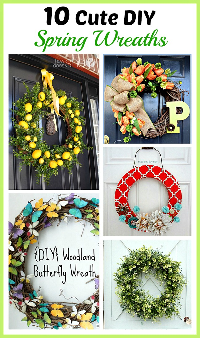 10 Cute DIY Spring Wreaths- To celebrate spring, you should put up a wreath! But don't spend a fortune on a store-bought one. Instead, make one of these 10 cute DIY spring wreaths! | flowers, Easter, lemons, butterflies, door decor, #diy #craft #wreath #spring