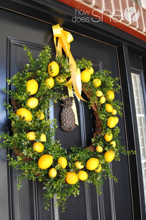 DIY Spring Wreath with Lemons