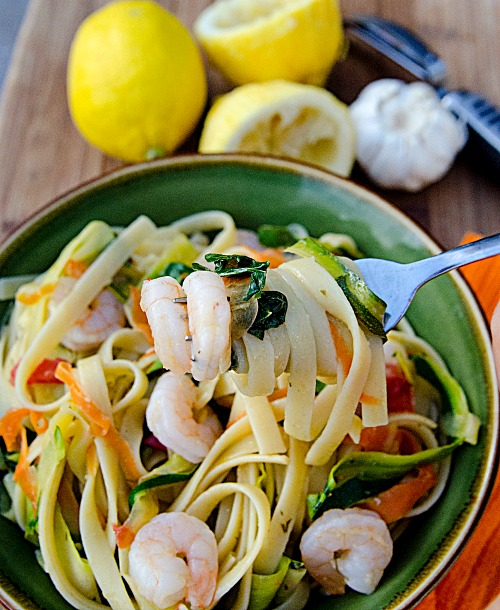 Lemon shrimp with vegetable noodles and pasta