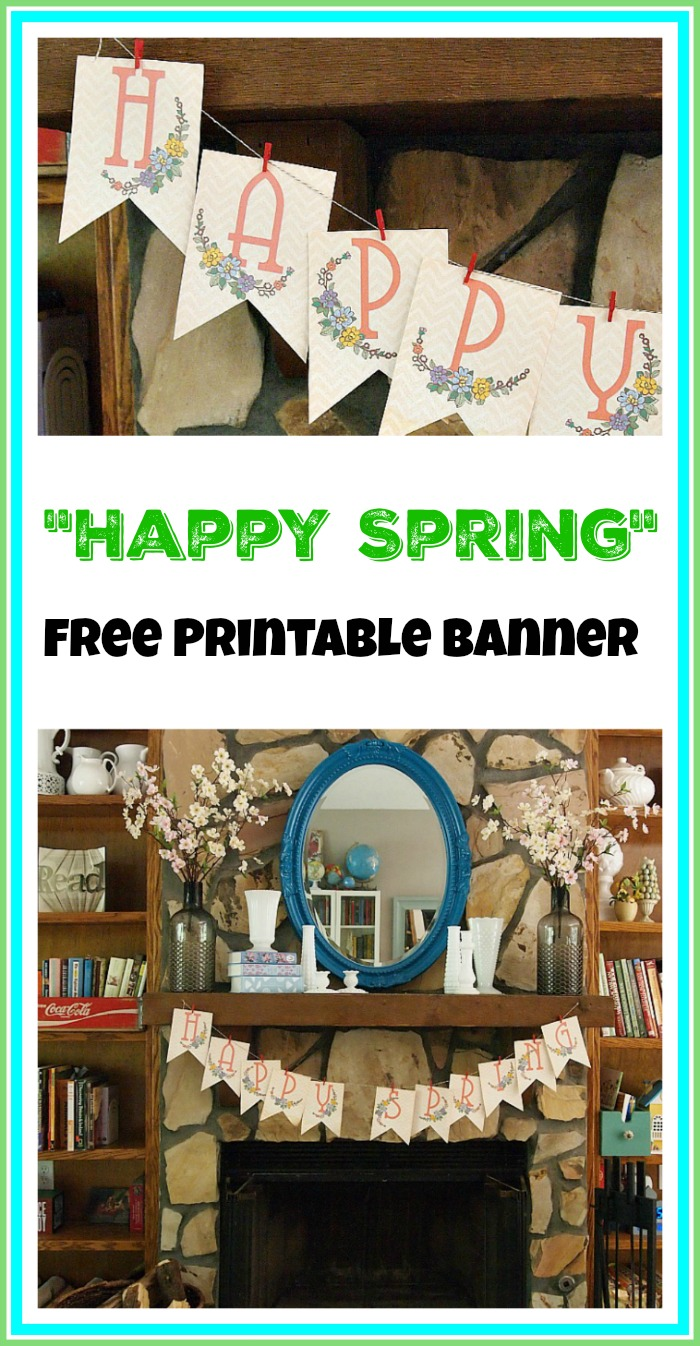 "Spring has sprung! Celebrate spring inside your home with this pretty ""Happy Spring"" free printable banner! This would look great on a wall or mantel!"