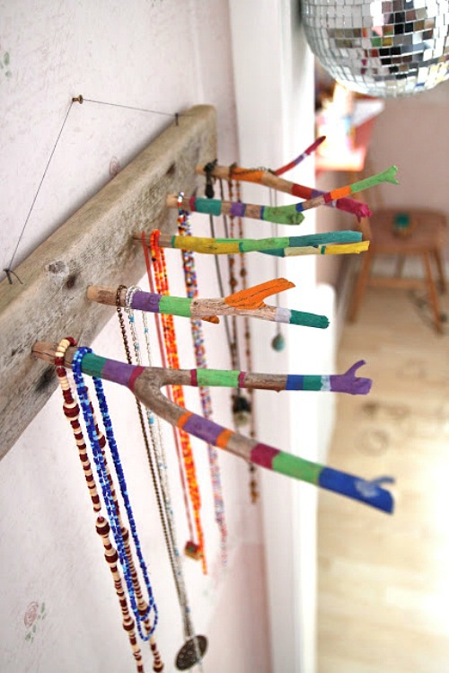 DIY Jewelry Organizer Ideas- DIY Stick Jewelry Organizer