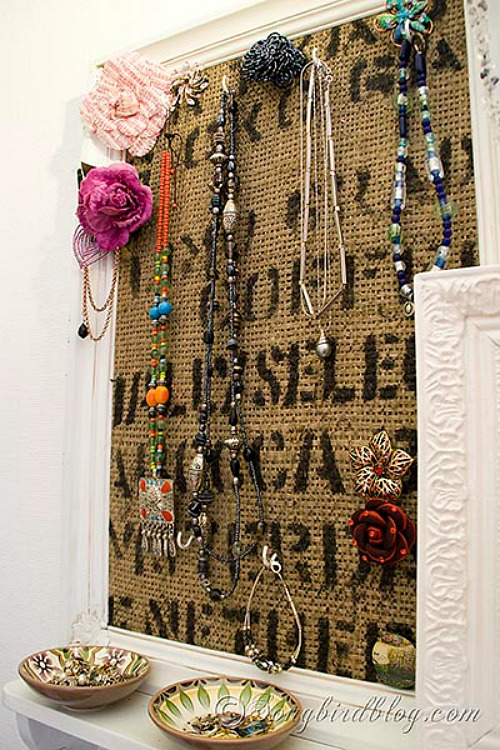 DIY Jewelry Organizer Ideas- Burlap Coffee Sack Jewelry Organizer