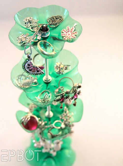 DIY Jewelry Organizer Ideas- Upcycled Bottle Jewelry Organizer