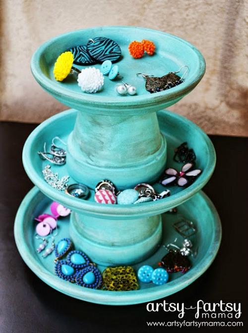 DIY Jewelry Organizer Ideas- Upcycled Flower Pots Jewelry Organizer