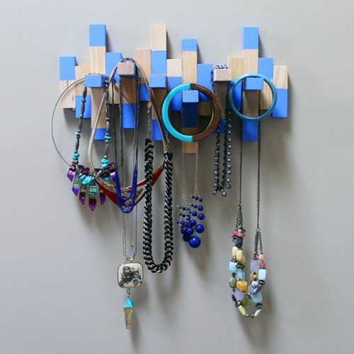 DIY Jewelry Organizer Ideas- DIY Wood Block Jewelry Organizer
