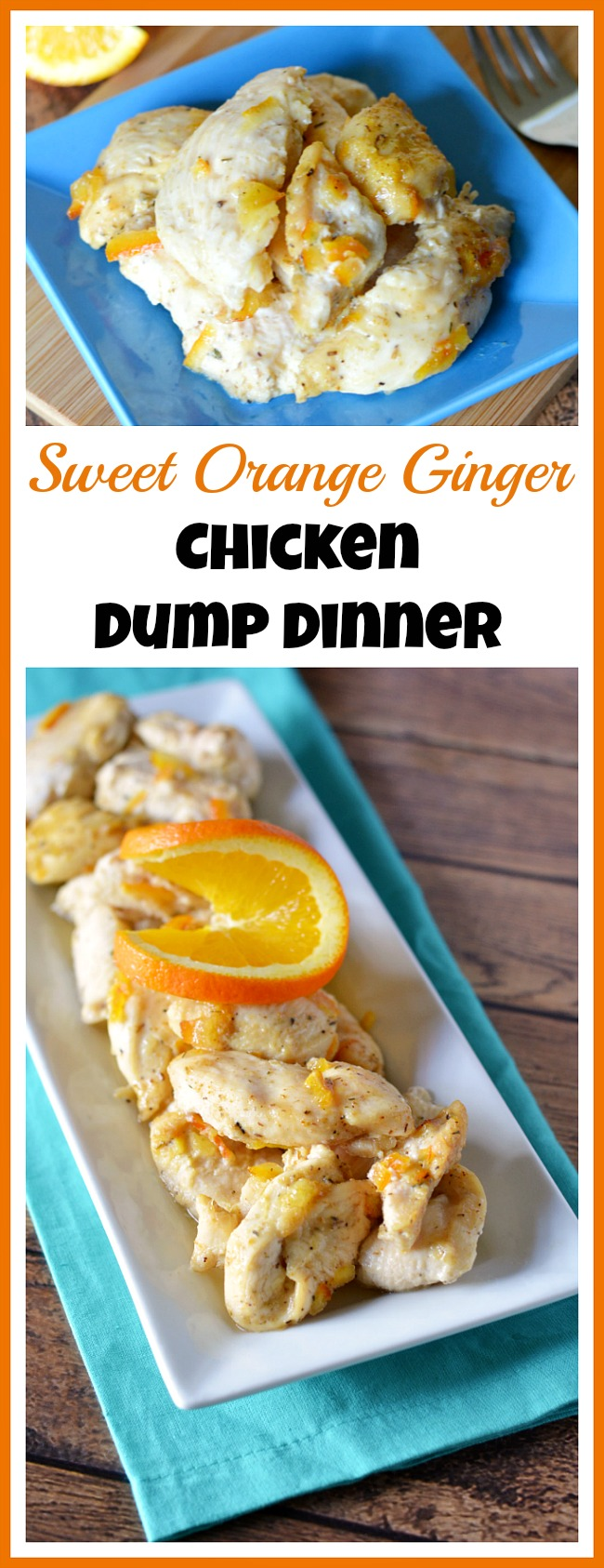 Don't have take-out on your next busy day! Instead, make this sweet orange ginger chicken dump dinner! Just dump it in a slow cooker or oven and enjoy!